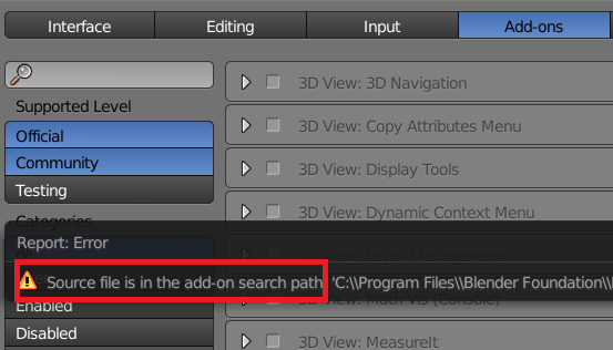 Blender Source file is the add-on search path